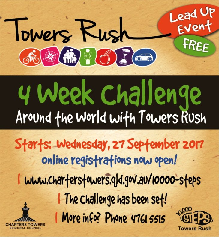 "FREE LEAD IN EVENT 10,000 steps ""Around the World' with Towers Rush"""